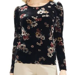 Vince Camuto Floral Story puff sleeve velvet top